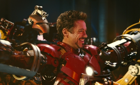 Robert Downey Jr suits up for Iron Man 2