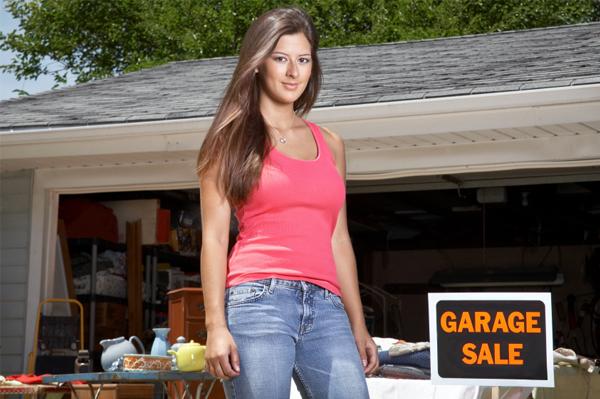 Woman at garage sale