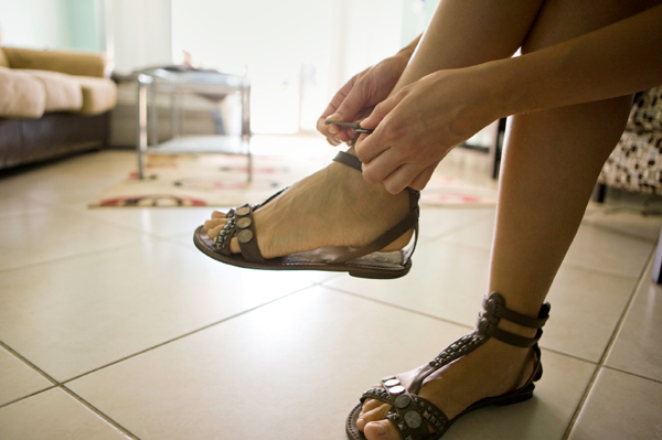 Woman wearing gladiator sandal