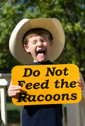 Child holding do not feed animal sign