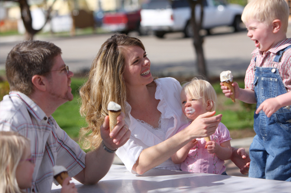 Family having ice cream