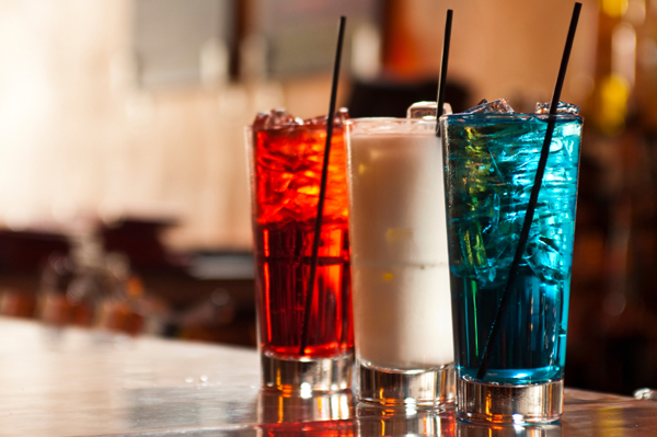 Red, white, and blue cocktails