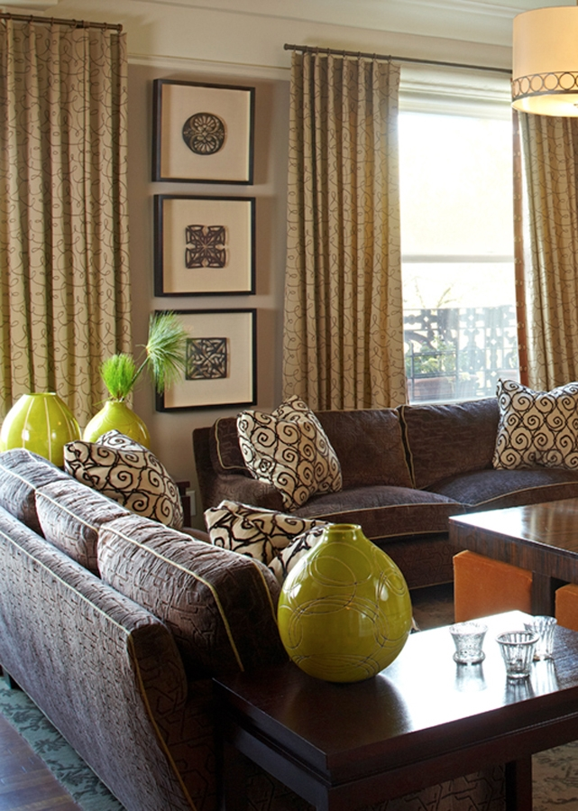 taupe brown and green living room followpics
