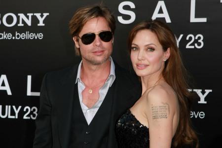 Angelina Jolie and Brad Pitt at the Salt premiere