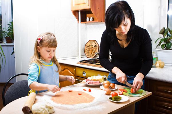 Mom and child cooking pizza