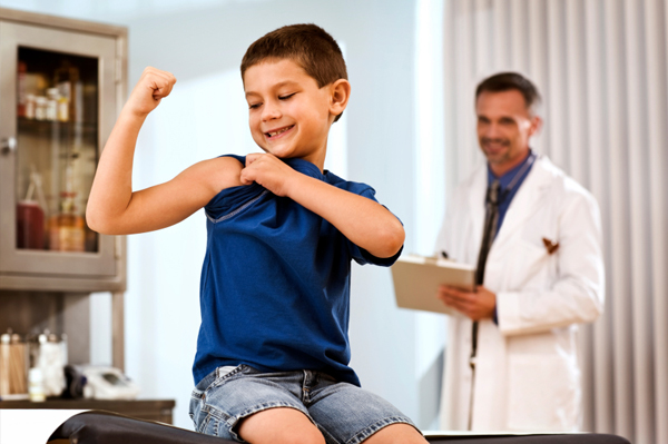 Strong boy at doctor's office