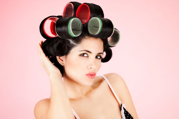 Woman wearing rollers