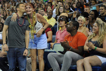 Ryan Seacrest greets a fan of American Idol in New Orleans