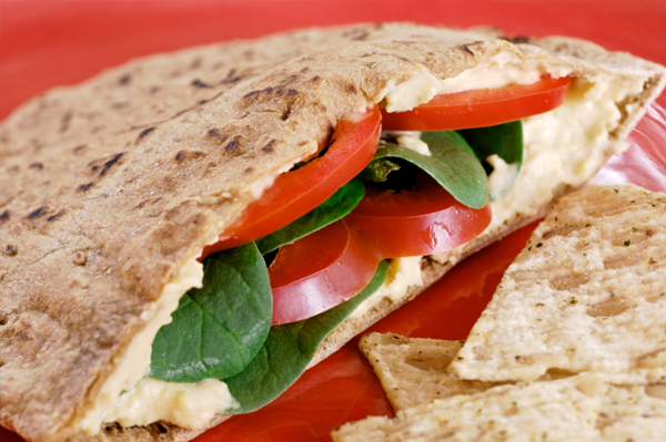 Healthy hummus wrap