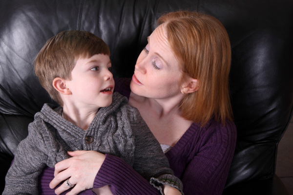 Mom having discussion with son