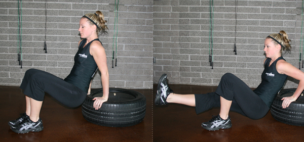 Tire triceps dip
