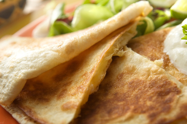Goat cheese and pear-apple quesadillas