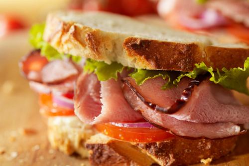 Rustic ham sandwich