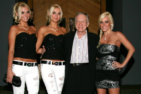The Shannon twins with Hugh Hefner