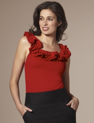 sleeveless rose scoop-neck sweater