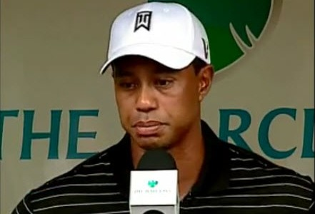 Tiger Woods meets the press