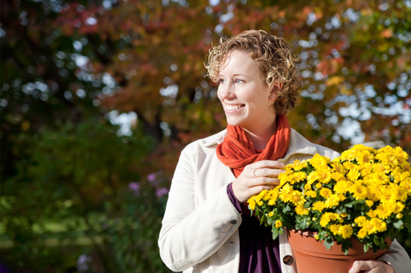 Woman in Fall garden