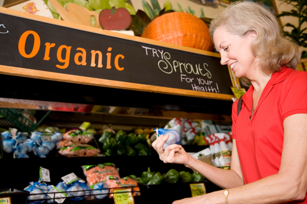 Woman shopping for organic food