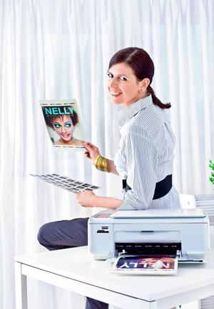 Woman with printer
