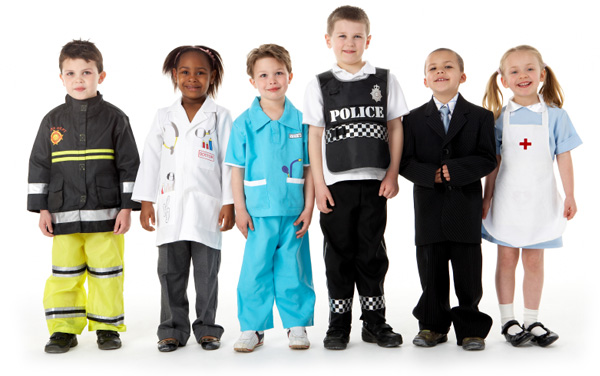 Kids in career costumes