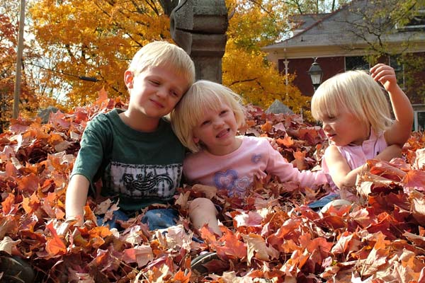 Fall kids and leaves