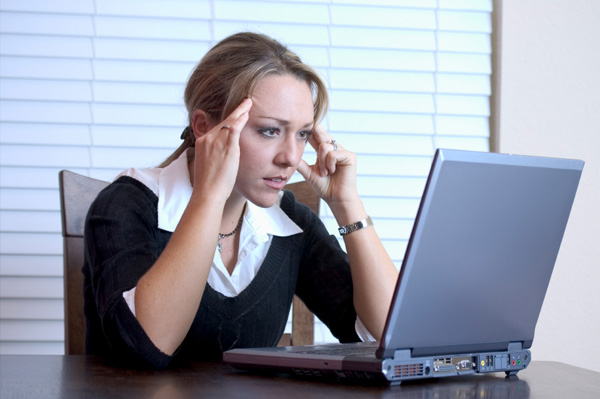 Frustrated woman at work