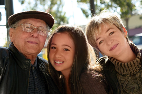Grandfather, teen, and mother