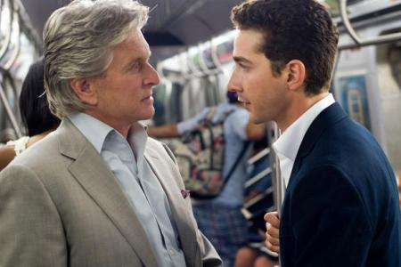 Michael Douglas and Shia LaBeouf in Money Never Sleeps