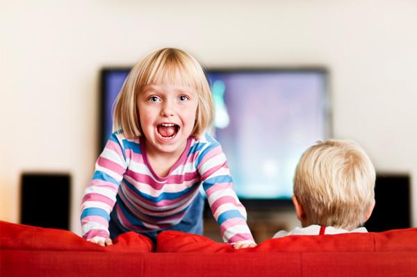 Preschooler watching tv