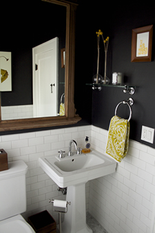 Simple touches like a pedestal sink are a stylish alternative for powder rooms