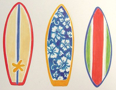 Tropical Colorful Bright Surf Boards Hawaiian Wallpaper Wallies