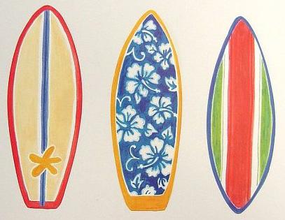 Tropical Colorful Bright Surf Boards Hawaiian Wallpaper Wallies