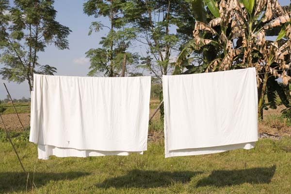 Sheets on a clothesline
