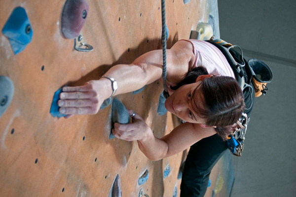 Woman rockclimbing