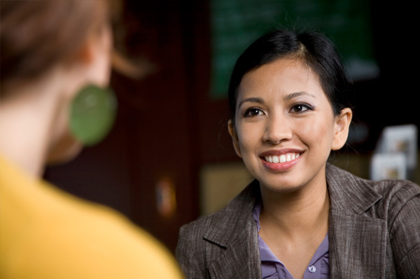 Young woman at job interview