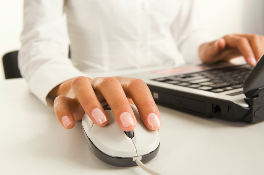 Woman's hand on mouse