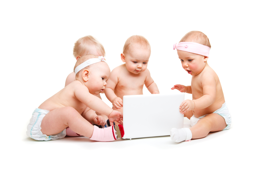 Babies on computer