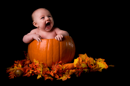 Baby in pumpkin