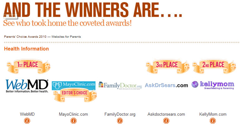 PCA Website Winners