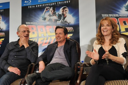 Back to the Future cast Christopher Lloyd, Michael J Fox and Lea Thompson reunite