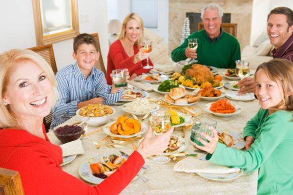 family eating christmas dinner