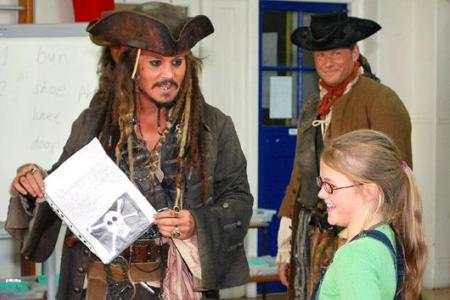 Johnny Depp visits a London classroom