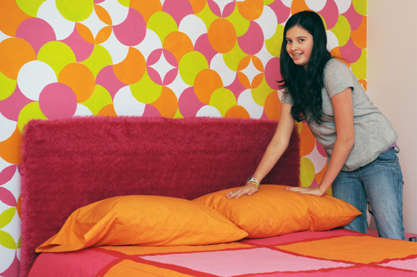 Tween in funky bedroom