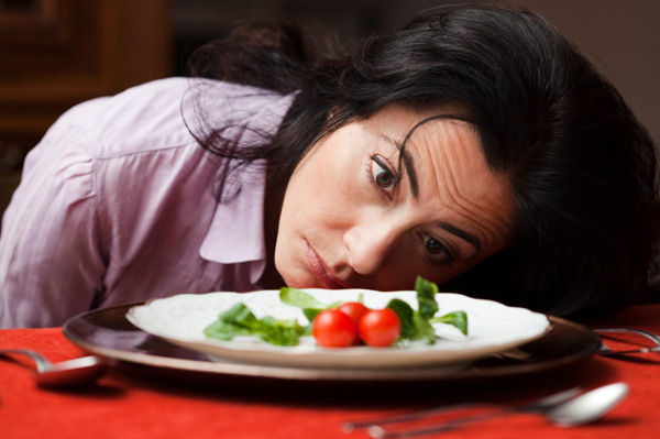 Woman obsessing over diet