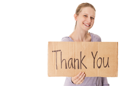 Woman with thank you sign