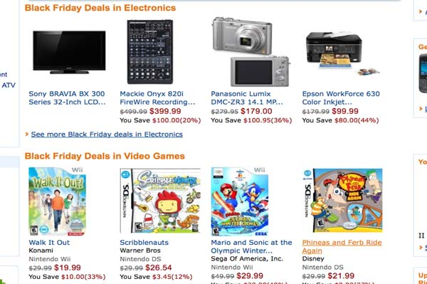 Amazon Black Friday 2010 deals on sale now