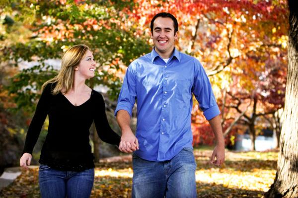 Couple on fall walk