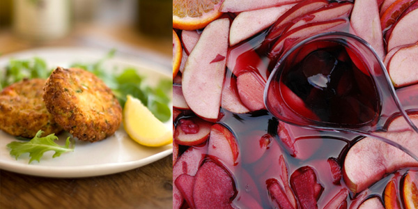 Sangria and crab cakes
