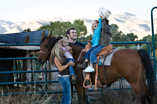 Family at dude ranch