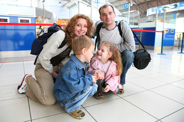 Family in airport